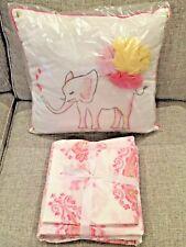 New Pottery Barn Kids Elyse Elephant Twin Duvet, Sham, Pillow, Pink, Coral, Gold