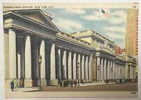 Old Vintage Linen Era Postcard 1940's Pennsylvania Station New York City NY