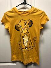 Disney Womens Juniors Yellow Lion King Simba T-Shirt Hoodie Costume XS W/ Ears