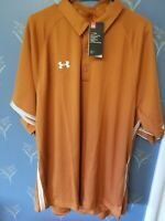 NWT Men's Under Armour Heat Gear Loose Fit Polo Shirt Orange XL Extra Large