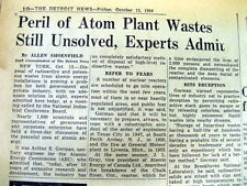 1954 newspaper NUCLEAR PLANT RADIOACTIVE WASTE MATERIAL DISPOSAL problemUNSOLVED