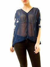 Free People Women's Tie Dye Me Down Short Sleeve Blouse Blue XS RRP £102 BCF612