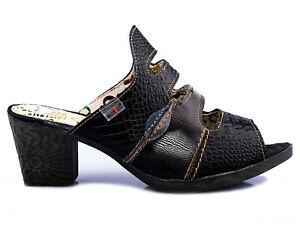 TMA 1171 Damen Sandaletten Pantoletten Pumps Schuhe Leder schwarz alle Gr. 36-42