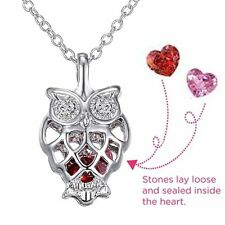 Wise Owl Caged Pendant 2 Birthstone Love Charm Stone Locket Necklace Xmas Gifts