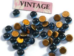Vintage Cabochons Rhinestones Montana 5mm Blue Tiny Rounded Flat Foil #1040C