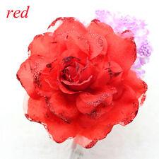 NEW 15CM Corsage Hairband Wrist Flower Wedding Party Prom Red Rose Headdress