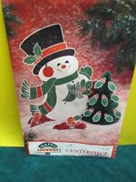 1988 Hallmark Christmas Paper Centerpiece HAPPY THE SNOWMAN with Honeycomb Tree