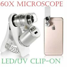 60X Clip-On Microscope Magnifier with LED/UV Lights for iPad iPhone X 8 7 6 Plus