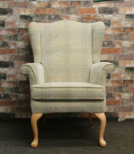 PARKER KNOLL HARTLEY WINGBACK ARMCHAIR IN CREAM, BEIGE CHECK CHENILLE FABRIC
