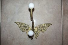 Vintage Brass Butterfly Wall Towel Holder Coat Hanger White Ceramic Knobs