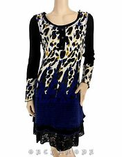 Robe MY DESIGN T 38 M 2 Pull Tunique Bleu Volant Dentelle Hiver NEUF Dress Kleid