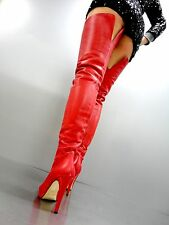 MADE IN ITALY PLATFORM OVERKNEE SEXY BOOTS STIEFEL STIVALI LEATHER RED ROSSO 40