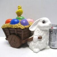 """Vintage Ceramic Easter Bunny Pulling Cart with Eggs Chick 11"""" Long Candy Cart"""