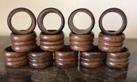 Vintage Wooden Wood Napkin Ring Holders Round Set of 13