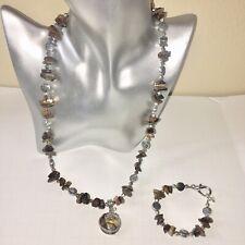 Necklace & Bracelet Set Stones Silver Tone Charms Agates  Dragon Main Piece EUC!
