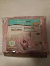 Breathable Baby Mesh Crib Liner/Bumper Pink Fits Most Cribs Max Air Flow