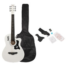 38 inch Spruce Guitar with Bag & Strap & Lcd Mixer & String Pure White