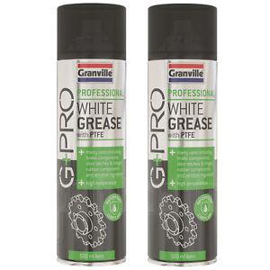 2 x Granville White Grease Aerosol PTFE Waterproof Lubricant Spray Brake 500ml
