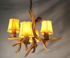 REAL ANTLER MULE DEER CHANDELIER 4 LIGHTS, Rustic Lamp, Lighting
