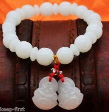10mm Natural White Jade beads Tibetan Buddhism Amulet Lucky Elastic Bracelet