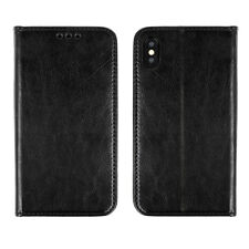 ^ ECHT LEDER Book Case Handytasche Schutz Hülle Samsung Galaxy A6 Plus BLACK