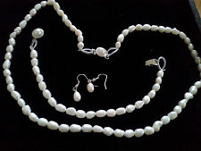 Cultured Pearl Necklace Bracelet and Earring Set From the Islands
