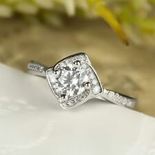Engagement Ring For Women In 925 Ss Great Antique White Plated White Round Stone