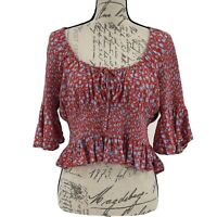 Free People Blouse NWOT Red & Blue Floral Short Sleeve Crop Top Ruffles Size M