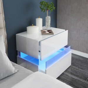Bedside Table High Gloss 2 Drawers Front Nightstand Cabinet RGB LED Light Uint