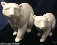 PEREIRAS PORTUGAL PAIR OF POLAR BEARS FIGURINES ONE LARGE ONE SMALLER