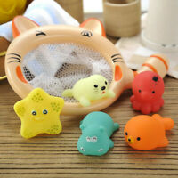 6PCS Cute Bathtub Toy Cat Fishing Game Children Bathing Water Beach Toy Gift NEW