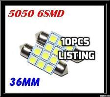 10pcs x CAR 12V LED 36MM FESTOON INTERIOR WHITE LIGHT BULB 5050 6SMD AUTO GLOBE