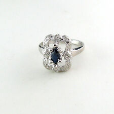 Blue Sapphire .49 CT W/ Diamond and Sterling Silver Ring WITH Appraisal $1,000