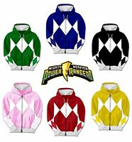 Adult TV Show Mighty Morphin Power Rangers Ranger Costume Hooded Zip Sweatshirt