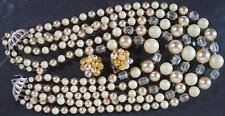 Vinta Necklace & Earrings Set~Yellow & Cryatal 4 Strand