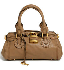 NEW $2495 Chloe' Paddington Satchel Leather Nut Brown Lock Key
