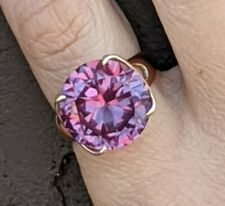 Huge Antique 12 ct Alexandrite round Strong Color Change Ring 14K Gold