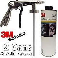 2x 3M Car Body Schutz - Black Underseal 08861 Underbody Textured Coat+ Spray Gun