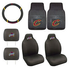 NBA Cleveland Cavaliers Seat Cover set w/ Floor Mats & Steering Wheel Cover 7PC