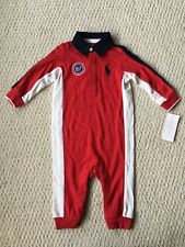 NWT $39 Ralph Lauren Boy's Red BIG PONY Rugby Romper Coverall - Sz. 12M