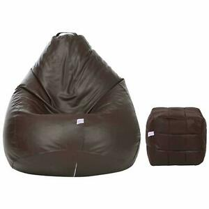 Brown Classic XXL with Footstool Bean Bag Cover Without Beans - free masks