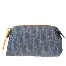 Auth Christian Dior Trotter Pattern Pouch Bag Denim Leather Gray Spain 60MG141