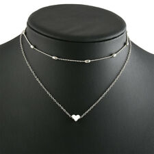 Women Double Layers Heart Pendent Bean Chain Chocker Necklace Gift for Lovers Silver