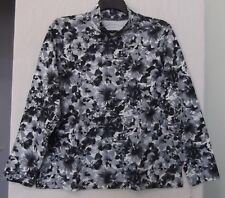 Studio Works Size 1X Floral mock turtleneck, long sleeve, grays,black,white NWT