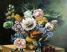"Vintage STILL LIE Signed A. Ramon Oil on Canvas Lovely Frame 27"" X 31"""