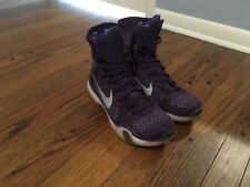 Nike Kobe 10 Elite Purple Silver High Top Size 10.5 Basketball Shoes