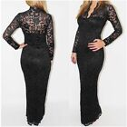 Womens Lace Long Sleeve Floral V-neck Bodycon Cocktail Evening Long Maxi Dress