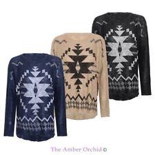 Geometrische Damen-Pullover aus Baumwolle