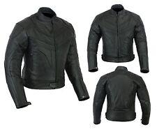 Mens Motorcycle Motorbike Jacket Leather Black CE Armoured