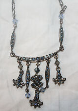 Satellite Paris Necklace Delicate Blue Stone Charms Signed